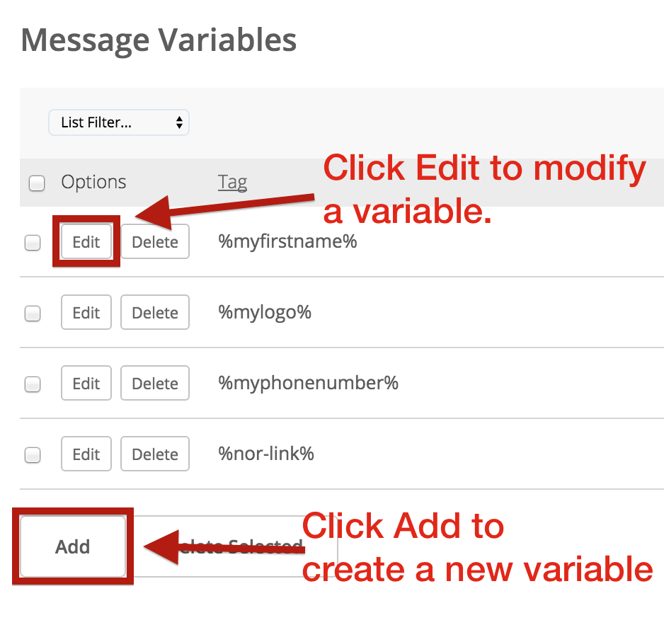create or add new message variable